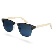 Sorte Browline Træsolbriller med Røgfarvede Glas