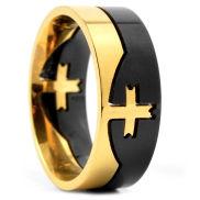 Fekete / aranyszínű keresztes acélgyűrű