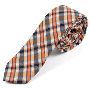 Corbata de lana a cuadros escoceses naranjas