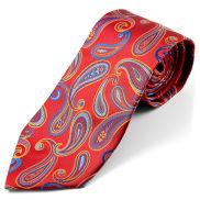 Corbata de seda con estampado de cachemir rojo