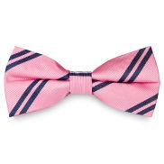 Navy Twin Stripe Pink Silk Bow Tie