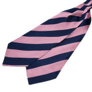 Pink & Navy Stripe Silk Cravat