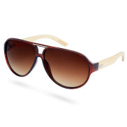 Кафяви преливащи слънчеви очила с бамбукови дръжки