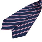 Marineblå Silkekravat med Lyserøde Dobbeltstriber