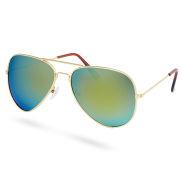 Aviator zlato-zelené polarizační sluneční brýle