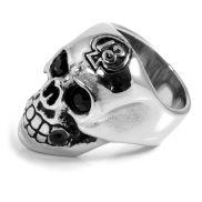 Ατσαλένιο Δαχτυλίδι Skeleton Skull Zirconia