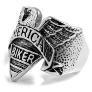 Anillo de acero American Biker con águila
