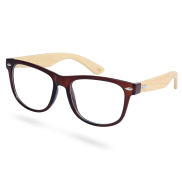 Brown Bamboo Clear Glasses