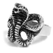 Стоманен пръстен с навита кобра