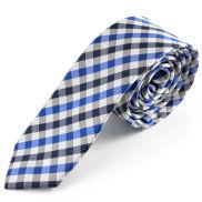 Corbata a cuadros en blanco y azul