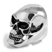 Velký ocelový prsten s lebkou XL