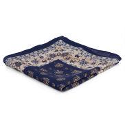 Тъмносиня кърпичка за сако с кант и флорални мотиви