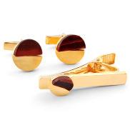 Short Golden Red Tiger's Eye 925 Silver Set