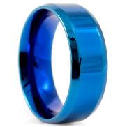 Blue Blank Angular Steel Ring