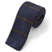Navy Blue & Brown Knitted Tie
