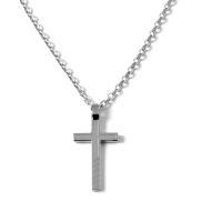 Stalen Halsketting met Ingelegd Kruis