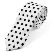Corbata en algodón blanca a lunares