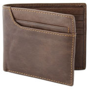Asymmetrical Brown Bi-Fold Leather Wallet