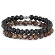 Brown Agate & Wood Miro Bracelet
