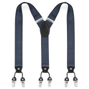 Wide Polka Dot Navy Clip Braces