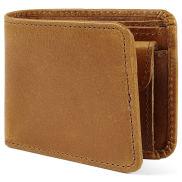 Светлокафяв кожен портфейл със състарена визия
