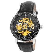 Черен часовник Rolat с кожена каишка