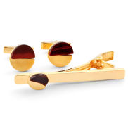 Golden Red Tiger's Eye 925 Silver Set