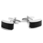 Black & Silver Curved Cufflinks