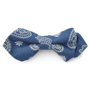 Blue and White Paisley Pointy Bow Tie