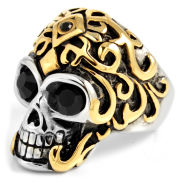 Gold Crowned Skull Steel Ring