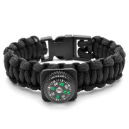 Black Paracord Compass Bracelet