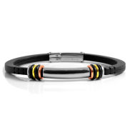 Rubber Bracelet With Colorful Steel Accents