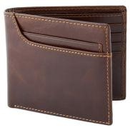 Cartera de cuero marrón rojizo díptica y asimétrica