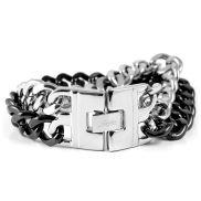 Zwart / Zilveren Stalen Armband met Dubbele Ketting