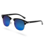 Browline Black & Blue Mirror Sunglasses