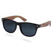 Czarne przydymione okulary przeciwsłoneczne z drewna hebanowego