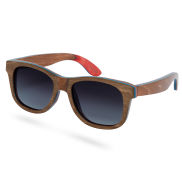 Brown and Gray Skateboard Wood Polarized Sunglasses