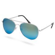 Авиаторски слънчеви очила в сребристо и тюркоазено