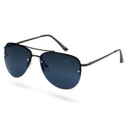 Aviator Total Black Smoke Polarized Sunglasses