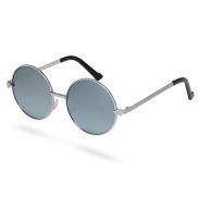 Zilverkleurige Ronde Zonnebril met Gespiegeld Glas