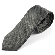 Czarny/szary krawat z mikrofibry