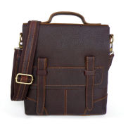 Кафява кожена чанта с презрамка Massim
