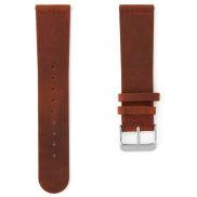 Bracelet de montre en cuir marron orangé et boucle argent