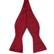 Papion self-tie din mătase roșu cu picățele