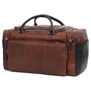 Montreal Tan & Black Leather Travel Bag
