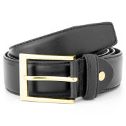 Basic Golden Buckle Black Leather Belt