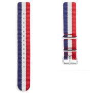 Puna-sini-valkoinen Nato-ranneke kellolle hopeanvärisellä soljella