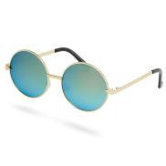 Goudkleurige Ronde Zonnebril met Gespiegelde Glazen