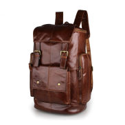 Tall Brown Leather Backpack