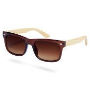 Gradient Brown Bamboo Wood Sunglasses